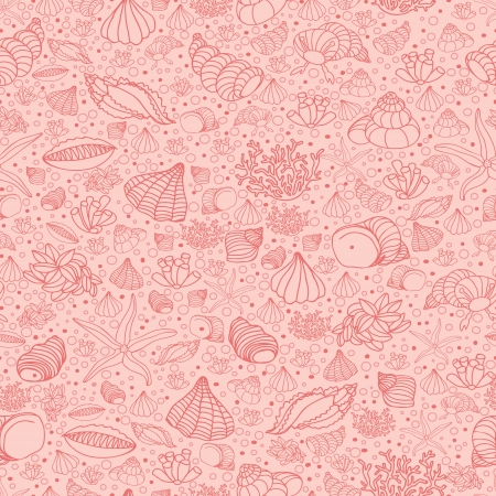 Abstract background with seashells, starfish and algae. Concept of seaside, resort, vacation, diving. Texture for print, wallpaper, textile, cover. Vector
