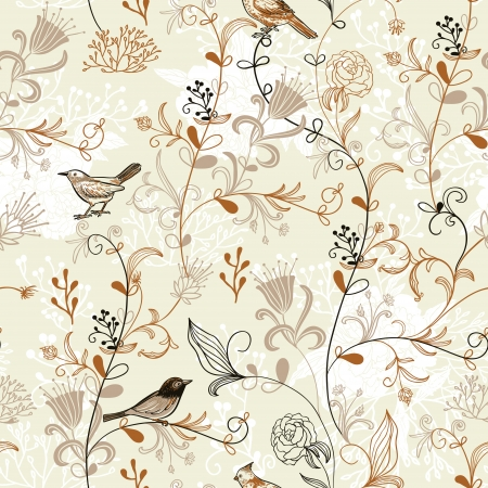 Nature Pattern with birds. Seamless pattern.  Vector