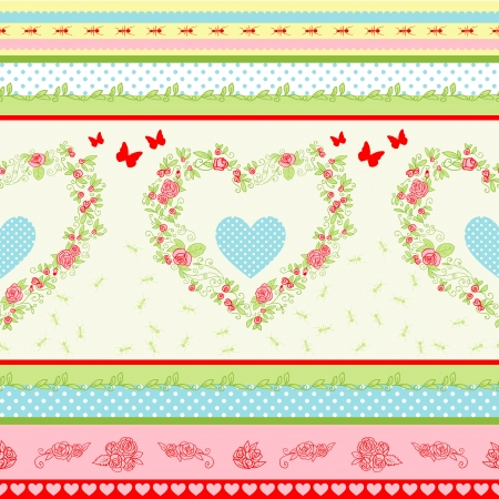 shabby chic: Shabby Chic floral pattern. Country style roses and stripes background.