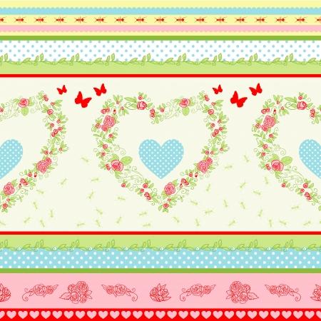 stile country: Shabby Chic motivo floreale. Paese rose di stile e di sfondo strisce. Vettoriali