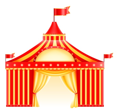 circo: Gran carpa de circo arriba aislados en blanco Icono