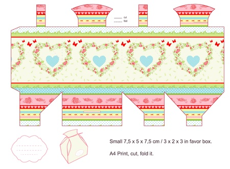 box template: Favor box die cut  Countryside pattern  Empty label