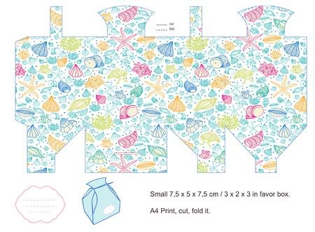 die cut: Favor box die cut  Sea pattern with seashell  Empty label