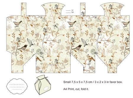 Favor box die cut  Birds, plants, flowers pattern  Empty label