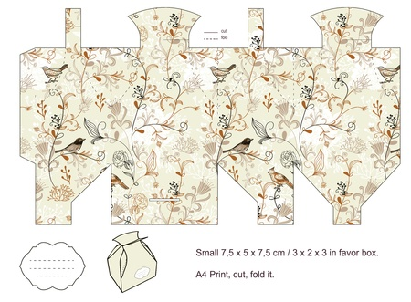 Favor box sterven gesneden vogels, planten, bloemen patroon leeg label Stock Illustratie