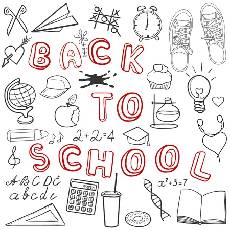 Back to school - set of school related doodle objects isolated on white Vector