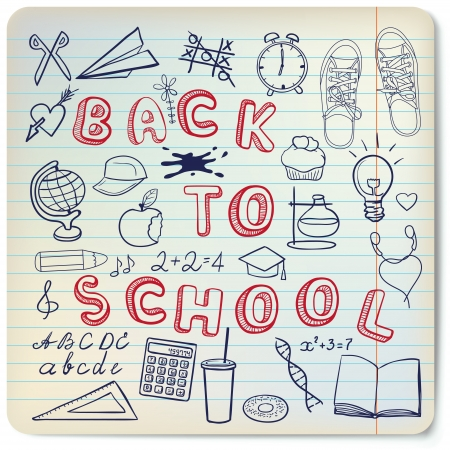 Zurück zur Schule - die Schule im Zusammenhang doodle Objekte auf dem Blatt Linien eingestellt