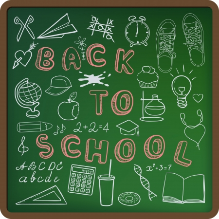 Back to school - set of school related doodle objects on green blackboard Vector