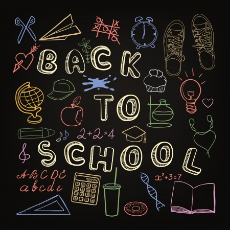 Back to school - set of school doodle symbols on chalkboard Vector