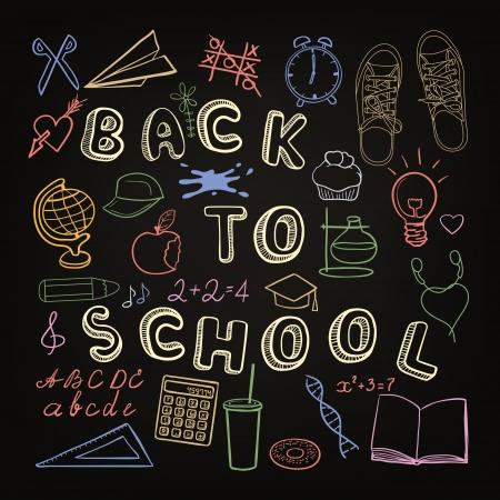 Back to school - set of school doodle symbols on chalkboard