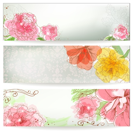 Three banners with peonies. Hand drawn garden background. Vector