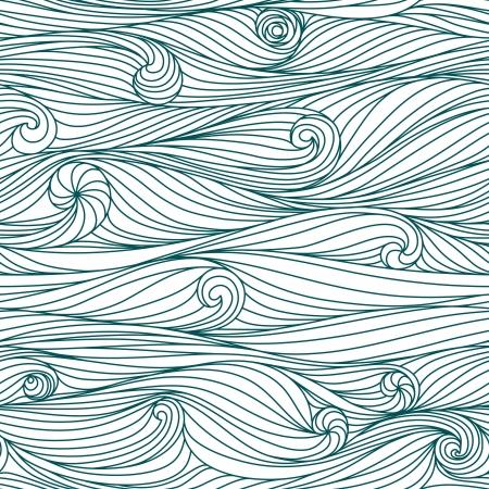 Abstrakte blaue handgezeichnete Muster, Wellen Hintergrund. Nahtlose Muster für Tapeten, Muster füllt, Web-Seite Hintergrund, Oberflächen-Texturen verwendet werden.