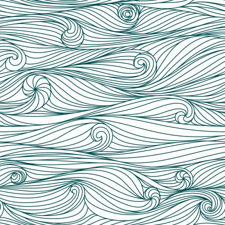 Abstract blue hand-drawn pattern, waves background. Seamless pattern can be used for wallpaper, pattern fills, web page background, surface textures.