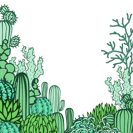 Desert background  Collection of the doodles cactus  Vector