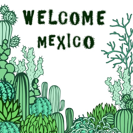 Mexico background  Collection of the doodles cactus  Vector