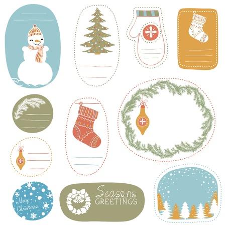 Set of hand-drawn Christmas Tags