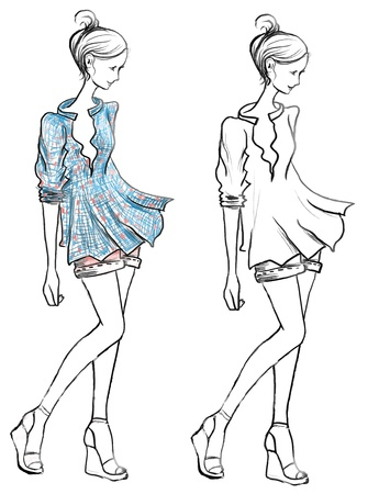 Hand-drawn fashion girls silhouette Ilustrace