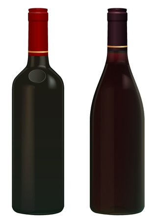 white wine: Red Wine bottles isolated in white without  label