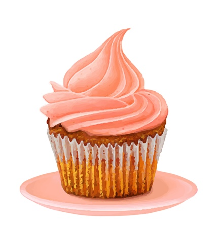 home baked: Cup cake on white background, illustration