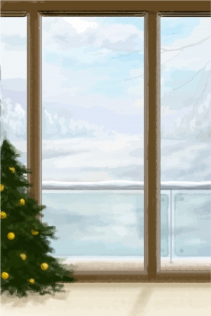 winter window: Corner of the Home decorated for Christmas with Christmas tree and winter window view. Illustration