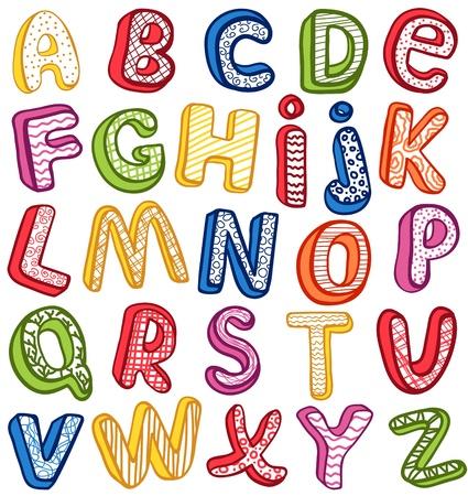 alfabeto: Hand-drawn 3D ABC. Esquema.