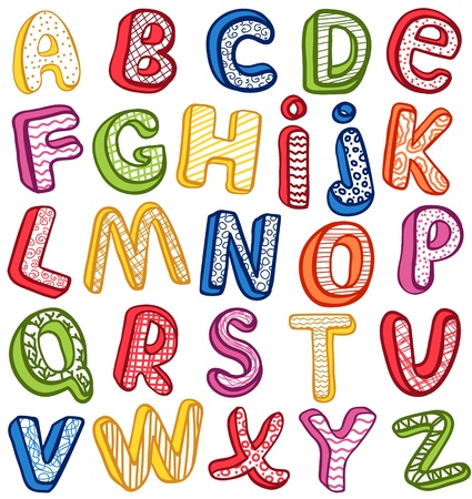 latin language: Hand-drawn 3D ABC. Outline.