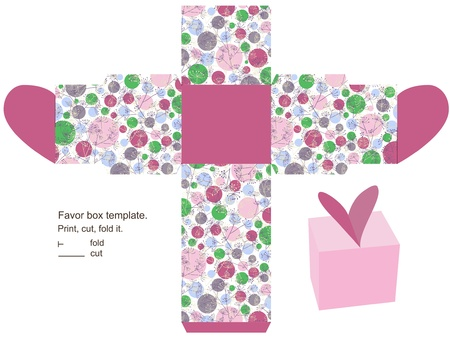 favor: Favor box template. Floral pattern with herbs and circles. Heart  on the top. Illustration