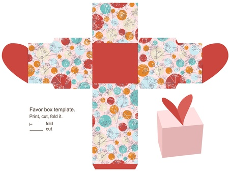 Favor box template. Floral pattern with herbs and circles. Heart  on the top. Illustration