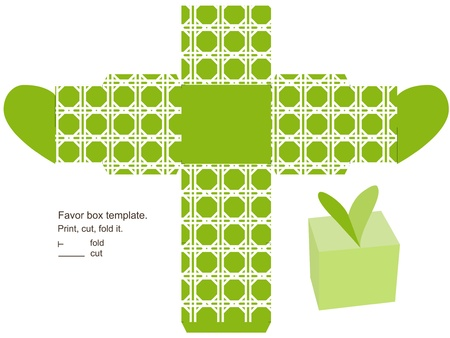 favor: Favor box template. Geometric classic pattern. Heart  on the top.