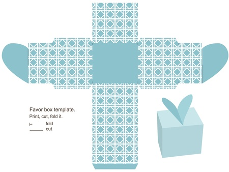 Favor box template. Geometric classic pattern. Heart  on the top.