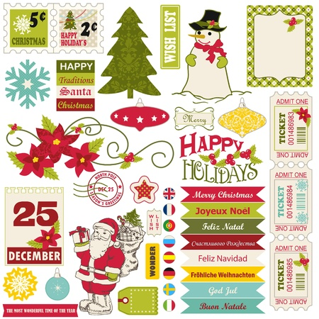 Vintage Christmas icons and decoration elements set. Vector