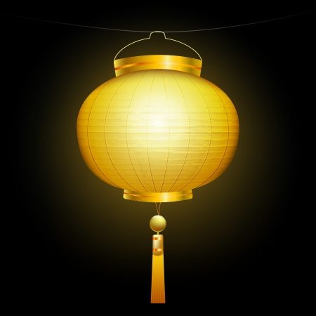 Gold Chinese traditional paper lantern. On black background. Vector