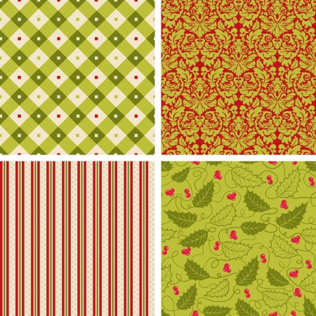Set of Retro Christmas patterns Vectores