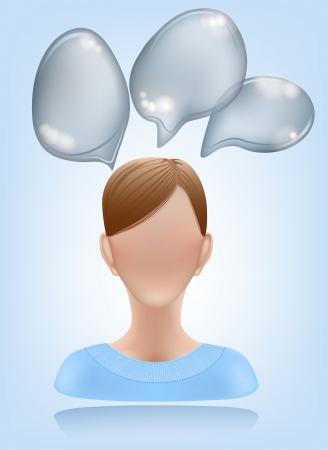 businesslike: Mujer icono de usuario con burbujas Discurso. EPS10