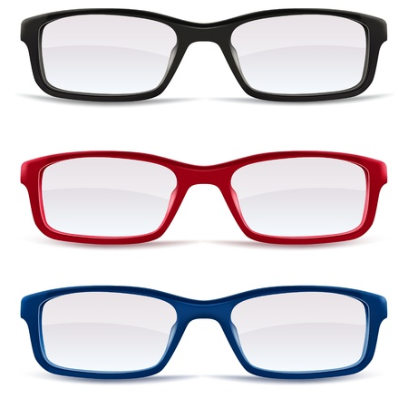 eyeglass: Collection of Eyeglasses, black, red and blue isolated on white background, illustration