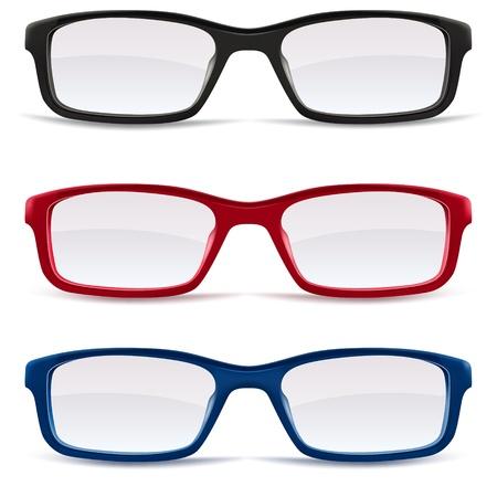 Sammlung von Brillen, schwarz, rot und blau auf weißem Hintergrund, isoliert Illustration