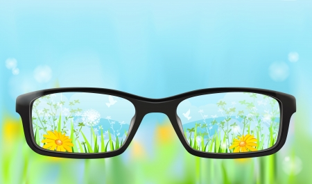 reading glass: Eyeglasses on the blurred nature background with summer landscape in focus, illustration Illustration