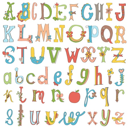 Hand-drawn funny alphabet isolated on white.  Vector