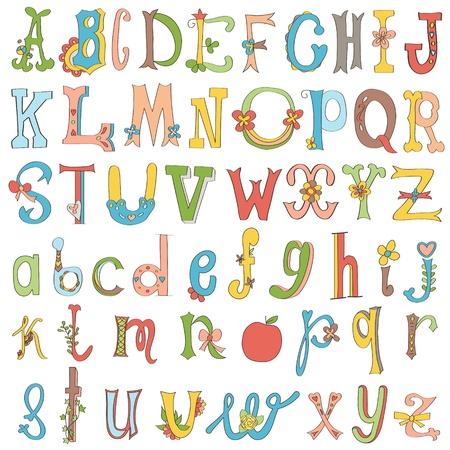 latin alphabet: Hand-drawn funny alphabet isolated on white.