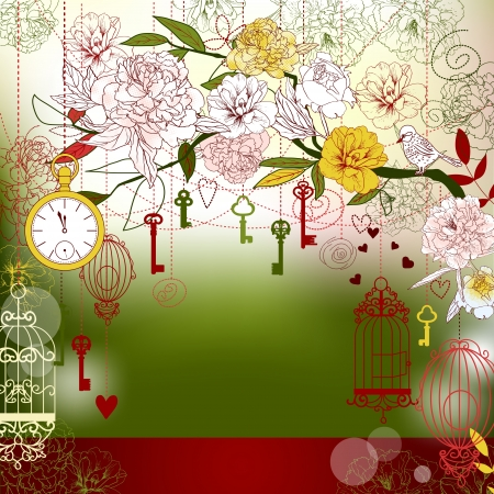 Christmas background with flowers, birdcage, keys  Copy space  Stock Vector - 15306054