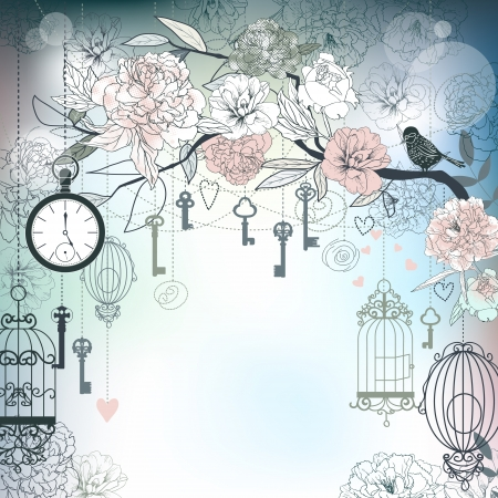 love birds: Floral background  Birds, cages, clock, keys, peonies Illustration