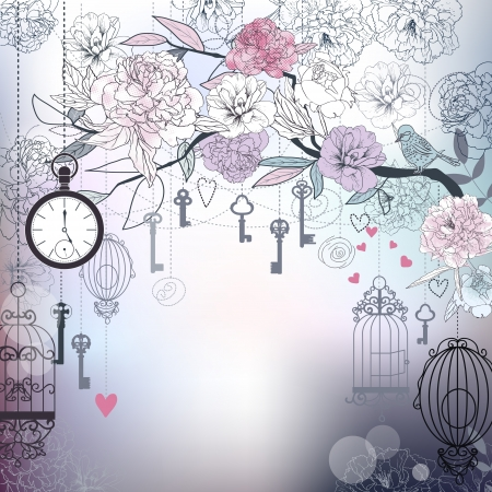 Floral background  Birds, cages, clock, keys, peonies Illustration