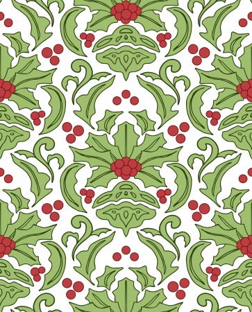 Seamless damask classic pattern with holly berries