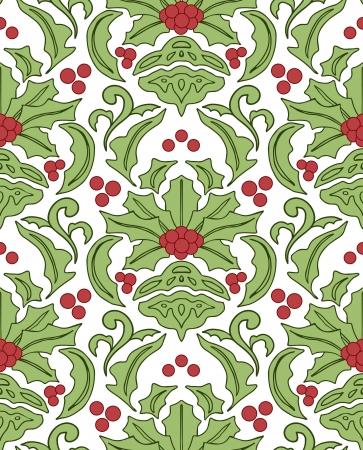 Seamless damask klassischen Muster mit Beeren der Stechpalme Illustration