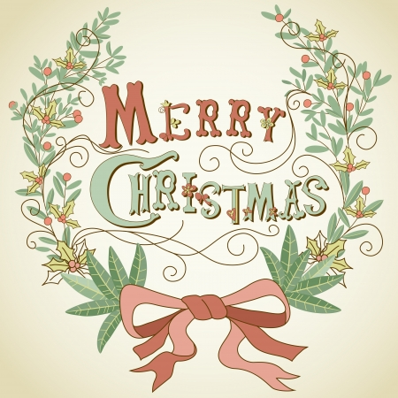 Vintage Christmas Card  Merry Christmas lettering and hollyberry wreath Stock Vector - 15306082