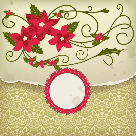 Christmas background; holiday greeting card with abstract holly berry decoration and empty label  Vector