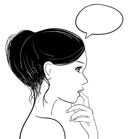 Pensive thoughtful woman looking up, Speech bubble at the top of the photo for your text  Illustration  Vectores