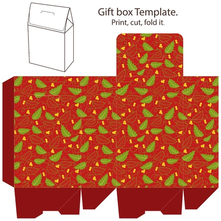 dieline: Christmas Gift box template. Abstract christmas pattern with holly berry. Empty label.  Illustration