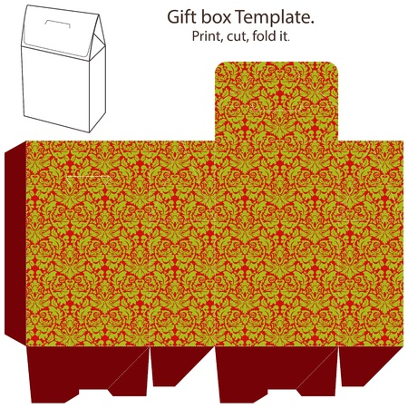 printable: Christmas Gift box template. Abstract classic geometric christmas pattern. Empty label.