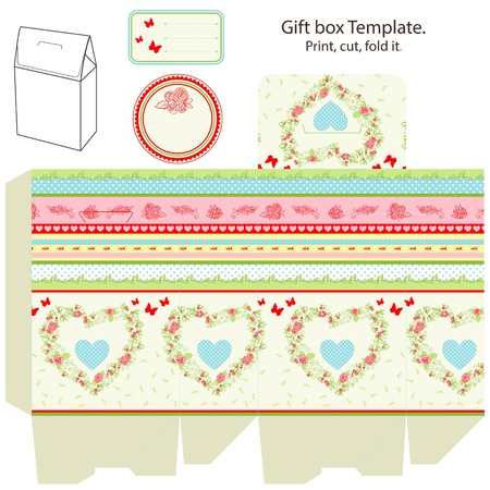 dieline: Gift box template. Abstract floral pattern with heart. Empty label.